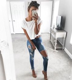jeans jeans with holes ripped jeans skinny jeans ripped top white oversized white t-shirt t-shirt tumblr blue jeans sandals sandal heels high heel sandals nude sandals crop tops white crop tops