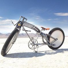 Vintage rat rod bicycle that resembles a motorcycle