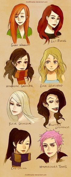 Finally people note the difference between Ginny's fiery sunset hair and Lily's dark rose red hair! Also these drawings are beautifully done♡
