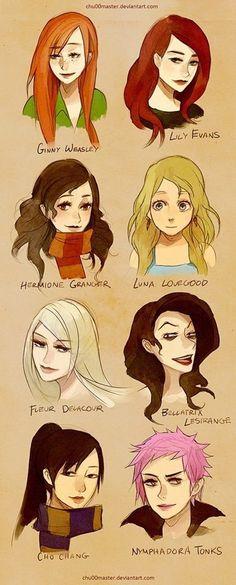 Image via We Heart It https://weheartit.com/entry/81070666/via/13802995 #ginnyweasley #girls #harrypotter #hermionegranger #lunalovegood #chochang #fleurdelacour #lilyevans #belatrixlestrange #nymphadoratonks