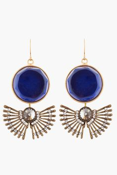 Marni brass and blue gem ink earrings