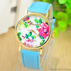 Wow~ Awesome Girls Ladies Elegant Rose Metal PU Watch! It only $18.99 at www.AtWish.com! I like it so much<3<3!