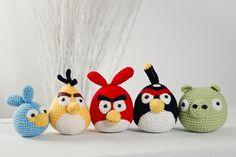 Angry Bird jeu jouets, cinq éléments ! Fait main, crochet les oiseaux en colère