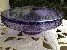 Purple Amethyst Depression Glass Cake Pedestal by TheFlyingHostess Pretty color! Vintage Dishes, Vintage Glassware, Vintage Kitchen, Cake Pedestal, Vintage Cake Stands, Purple Kitchen, Glass Cakes, All Things Purple, Purple Stuff