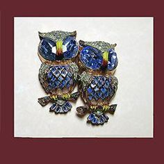 Vintage excellent sterling owl duette. Signed CORO