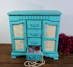 Large Distressed light turquoise jewelry box / Jewelry by NEWaged, $118.00