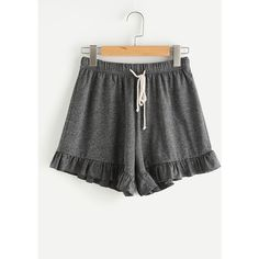 Marled Knit Drawstring Waist Frilled Sweat Shorts (£11) ❤ liked on Polyvore featuring shorts, grey, drawstring waist shorts, frilly shorts, ruffle trim shorts, knit shorts and frill shorts