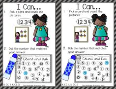 Bingo dabber centers! Practice letter and number recognition, beginning sounds, counting and hand-eye coordination at the same time! 2 I can posters for each activity, make it easy to differentiate (just cut them apart).