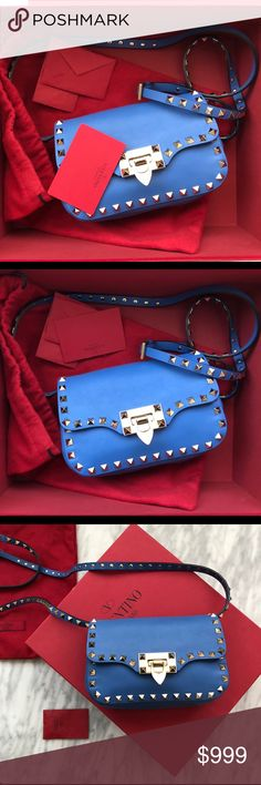 """Valentino Rockstud Cross body Bag 100% authentic- measures 7.25""""L X 5""""H X 2.5""""W the Rockstud Crossbody bag features a flap front with a flip-lock  closure. Silver Rockstud. Perfect for any occasion.  Used only twice perfect conditions come with everything. Valentino Bags Crossbody Bags"""