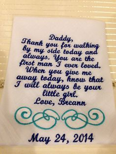 Personalized Father of the Bride wedding Handkerchief  gift from bride to her father