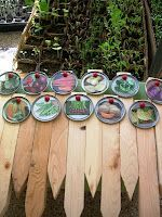 Plant Markers made with juice can lids and images from seed catalogs, via Still Parenting