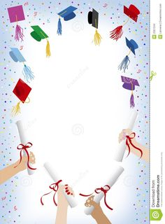 Illustration about Graduation cap and hands with diploma. Illustration of mortar, illustration, university - 2351244 Graduation Images, Graduation Templates, Graduation Theme, Preschool Graduation, Graduation Cards, Page Borders Design, Border Design, Graduation Wallpaper, Certificate Background