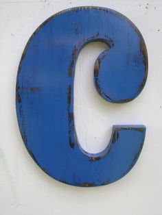 Shabby chic lowercase c rustic wall hanging letters wood signs wall signs painted - True blue -wall hanging initials