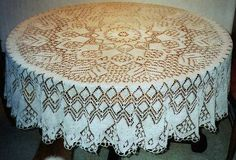 Vintage lace knit table cloth. Free knitting pattern
