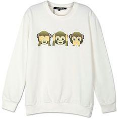 Choies White Cute Monkey Print Long Sleeve Sweatshirt ($20) ❤ liked on Polyvore featuring tops, hoodies, sweatshirts, shirts, sweaters, sweatshirt, white, white tops, longsleeve shirts and white shirt