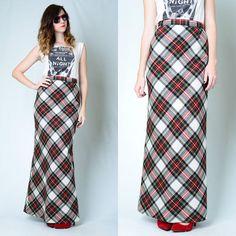 Vintage 70s Red Tartan Plaid Christmas Print Wool High Waist Maxi Long Skirt S   eBay