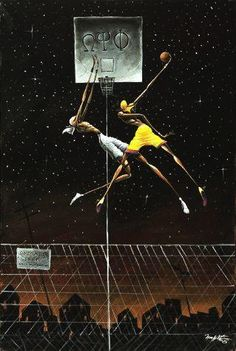 Frank Morrison's Omega Fly Dunk depicts two Omega Psi Phi brothers competing with one another. One is attempting to dunk a basketball while the other attempts to block it. Frank Morrison Art, Black Art Pictures, Architecture Art Design, Maori Art, Basketball Art, Black Artwork, African American Art, African Art, Black Artists