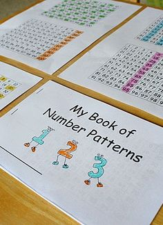 Book of number patterns using a hundreds chart. Can be used for interactive math journals. Montessori Math, Homeschool Math, Homeschooling, Math Patterns, Number Patterns, Math Resources, Math Activities, Les Mathes, 1st Grade Math