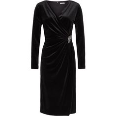 Jacques Vert Velvet Cocktail Dress ($310) ❤ liked on Polyvore featuring dresses, black, clearance, wrap dress, long sleeve black cocktail dress, long sleeve black dress, ruched maxi dress and velvet maxi dress