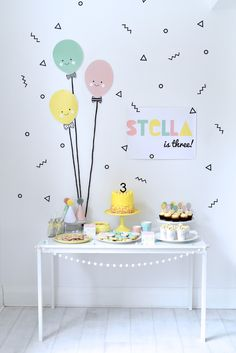 Little Paper Plate Events: Oh em gee Stella is three! balloon party, little paper plate events, yellow cake stand, balloons, yellow cake, cupcakes, kids party, children's party, party hats, Nina Designs.
