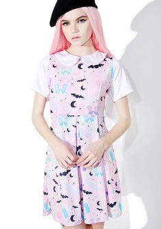 BB Killing It Skater Dress when yer slaying it and cute. This adorable skater dress features a peter pan collar, contrasting white cap sleeves, classic princess seam bodice, pleated skirt, and an all over graphic print of knives, bats, moons, and everything else kawaii.