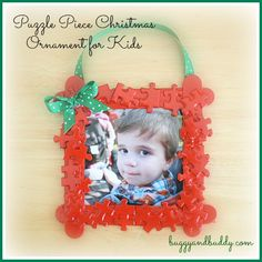 Homemade Christmas Ornaments: Puzzle Piece Frame Christmas Crafts for Kids: Puzzle Piece Frame Homemade Christmas Ornament – Buggy and Buddy Kids Christmas Ornaments, Preschool Christmas, Christmas Activities, Christmas Crafts For Kids, Homemade Christmas, Christmas Art, Christmas Projects, Christmas Themes, Holiday Crafts