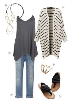easy casual style // jeans, tank, and striped cardigan with long bronze and leather necklace // click for outfit details .