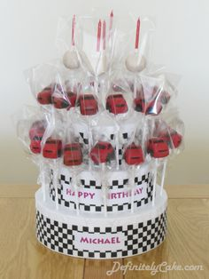 Bespoke cake pops, deliciously decorated to make the perfect tasty treat for any occasion! Car Cakes For Boys, Race Car Cakes, Disney Cars Birthday, Cars Birthday Parties, Cars Cake Pops, Cake Pop Displays, Custom Car Interior, Mini Pies, Cute Cars