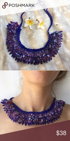 *Gorgeous rock cluster necklace Back by popular demand for winter 2016. Handbeaded seed beads and rock chips formed in bib style with button back closure, the look of an island goddess this holiday season. Happy shopping! handmade Jewelry Necklaces