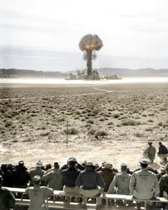 Atomic explosion at Nevada Test Site. (Colorized Photo) 1957 Military staff are far too close to the detonation so all are long dead / most succumbing to cancer caused by nuclear fall out Hiroshima, Nagasaki, Nuclear Bomb, Nuclear War, Nuclear Energy, History Online, World History, Site History, Fukushima
