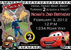 cars birthday invitations - Google Search