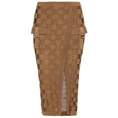 Balmain Woven Skirt ($955) ❤ liked on Polyvore featuring skirts, balmain, brown, balmain skirt, brown skirt and woven skirt