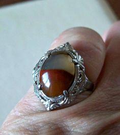 Vintage Art Deco Moss Agate Ring Sterling by OldTreazureTrunk