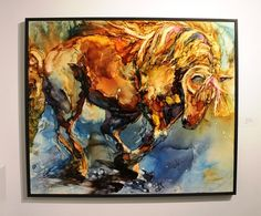"from the ""43 Horses"" exhibition at cre8ery. This was one of my favourite painting in the exhibition. In alcohol ink on panel: Brawn & Beauty by Leslie Franklin"