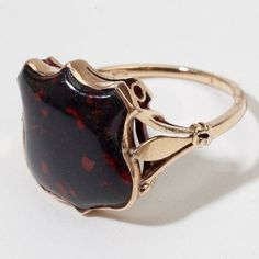 Antique Victorian Gold Bloodstone Shield Ring