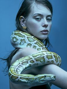 Lauren de Graaf Embraces Serpent Symbolism, Lensed By Fred Meylan for Citizen K Spring 2018 — Anne of Carversville Human Reference, Photo Reference, Serpent Symbolism, Portrait Art, Portrait Photography, Animal Photography, Snake Girl, Creative Portraits, Drawing People