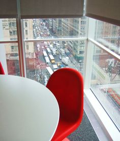 view from a corner office at the NYT headquarters