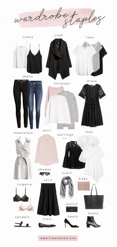 How to build a capsule wardrobe with closet staples for 2018. Style essentials and minimalist outfit ideas for summer, fall, winter and spring. #womenclothingoutfits