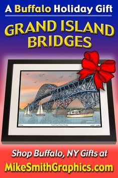 Highly detailed drawing featuring the South Grand Island Bridges in Buffalo, NY by Western NY artist Michael Smith. Shop for unique artwork in a variety of subjects at MikeSmithGraphics.com. Grand Island, Limited Edition Prints, Bridges, Wall Art Prints, Buffalo, Ink, Drawings, Unique, Artist