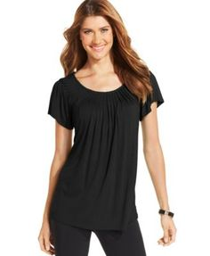 Style & Co. Solid Pleated-Neck Top