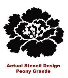 Flower Stencil Peony Grande MED Reusable by CuttingEdgeStencils