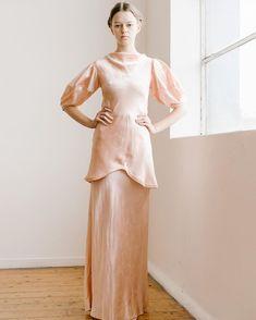 #1930s ballet pink bias silk satin gown - Newly Available online. #Devorevintage