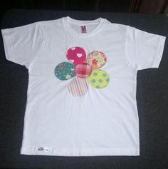 camiseta patchwork gran flor  camiseta de algodón 100%,tejidos aplicación patchwork