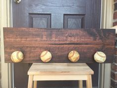 Baseball Dugout Stained Wood Sign Large by brownpaperpackaging