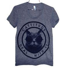 Cattitude Tee Women's Gray