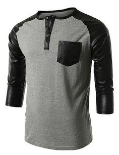 Mens Leather Sleeve Pocket Raglan T-Shirt #doublju