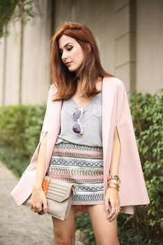 cape coat and beaded skirt.chic look in pastel tones.