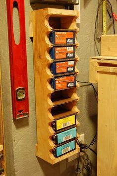 Woodworking Projects - There are several different forms of storage to pick from. After lighting, it is perhaps the next most important aspect of an efficient workshop. Workshop storage may also help keep a tidy garage w… Diy Garage Storage, Garage Organization, Organization Ideas, Organizing, Smart Storage, Diy Ammo Storage, Spray Paint Storage, Wood Storage Rack, Power Tool Storage