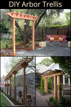 Arbor Trellis What would you grow if you had this trellis in your yard? Cheap Pergola, Outdoor Pergola, Backyard Pergola, Backyard Landscaping, Pergola Ideas, Arbor Ideas, Gazebo, Wisteria Trellis, Arbors Trellis