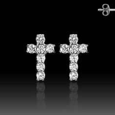 Pair of 925. STERLING SILVER STUD EAR WildKlass RingS W/ALL PRONG SET CZ CROSS (Sold as a Pair)